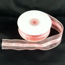 Bild 1 Dekoband Rosa mit Goldeinzug 30 mm breit