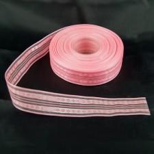 Bild 1 Dekoband Rosa mit Silbereinzug 30 mm breit