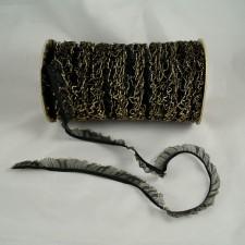 Bild 1 Rüschenband Schwarz mit Goldrand elastisch dehnbar 18 mm breit