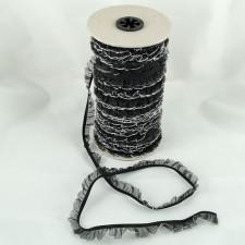 Bild 1 Rüschenband Schwarz mit Silberrand elastisch dehnbar 18 mm breit
