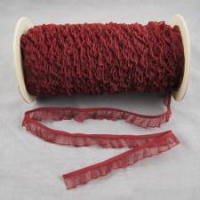 Bild 1 Rüschenband Weinrot elastisch dehnbar 18 mm breit