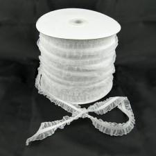 Bild 1 Rüschenband weiss beidseitig gerüscht elastisch dehnbar 26 mm breit