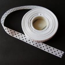 Bild 1 Satinband Weiß mit schwarzen Punkten 15 mm breit