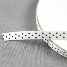 Bild 1 Satinband Weiß mit schwarzen Punkten 7 mm breit