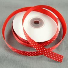 Bild 1 Satinband Rot mit weißen Punkten 15 mm breit