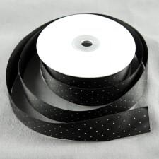 Bild 1 Satinband Schwarz mit weißen Punkten 25 mm breit
