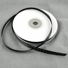Bild 1 Satinband Schwarz mit weißen Punkten 7 mm breit