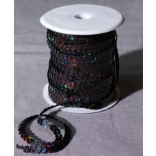 Bild 1 Paillettenband Pailletten Schwarz glitzernd 6 mm breit