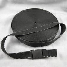 Bild 1 Gurtband Taschengurt Schwarz mit Faden 25 mm breit