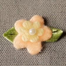Bild 1 Stoffblumen mit Schleife Aufnäher 20 mm Rosa / Gelb /Grün
