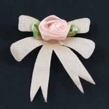 Bild 1 Satinrosen Stoffblumen Aufnäher  40 mm Rosa / Grün