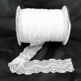 Elastische Spitze Weiss 5,5 cm breit Nr. 128