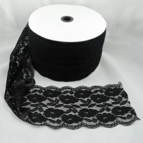 Elastische Spitze Schwarz 15,5 cm breit Nr. 137