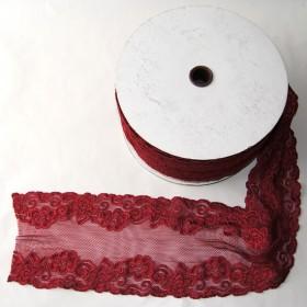 Elastische Spitze Weinrot 15 cm breit Nr. 50