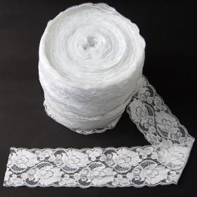 Elastische Spitze Weiss 8 cm breit Nr. 52
