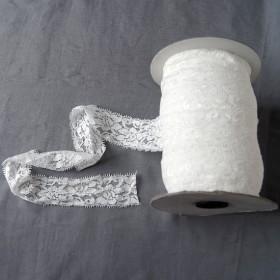 Elastische Spitze Wollweiss 4,5 cm breit Nr. 55