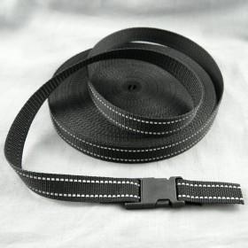 Gurtband Taschengurt Schwarz mit Reflektorfaden 25 mm breit