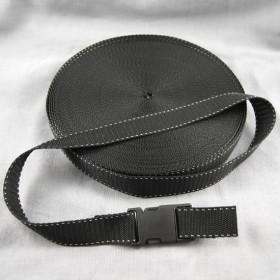 Gurtband Taschengurt Schwarz mit Faden 25 mm breit