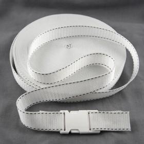Gurtband Taschengurt Weiß mit Faden 25 mm breit