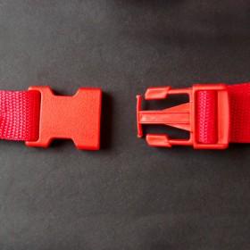 Gurtband - Steckschließer Rot 25 mm breit. Kaufeinheit: 1 Stück