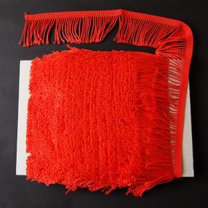 Bild 1 Fransenborte Drellierfranse Rot 60 mm breit