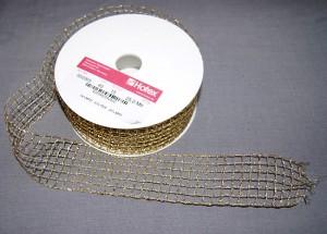 Bild 1 Lurexborte mit Gitterband Gold 40 mm breit