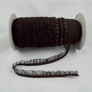 Bild 1 Rüschenband Dunkelbraun elastisch dehnbar 18 mm breit