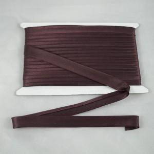 Bild 1Schrägband Satin Braun gefälzt 15 mm breit