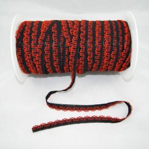 Bild 1 Ziergummi schwarz/rot breite 16 mm