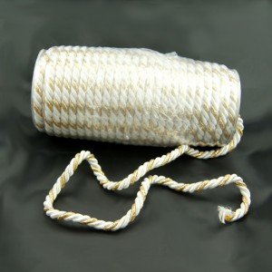 Bild 1 Dekokordel Weiß mit Gold 8 mm