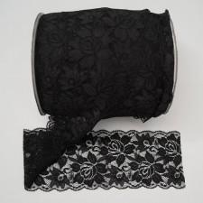 Bild 1 Elastische Spitze Schwarz 9,5 cm breit Nr. 153