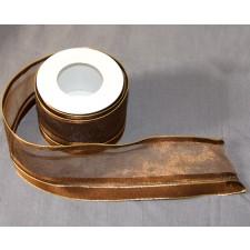 Bild 1 Dekoband Goldbraun glitzernd mit Drahtkante 55 mm breit