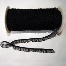Bild 1 Rüschenband Schwarz elastisch dehnbar 18 mm breit