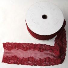 Bild 1 Elastische Spitze Weinrot 15 cm breit Nr. 50