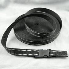 Bild 1 Gurtband Taschengurt Schwarz mit Reflektorfaden 25 mm breit