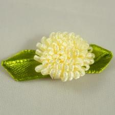 Bild 1 Stoffblumen mit Schleife Aufnäher 16 mm Grün / Creme