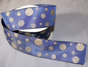 Bild 1 Dekoband Wired Blaugold glitzernd mit Drahtkante 40 mm breit