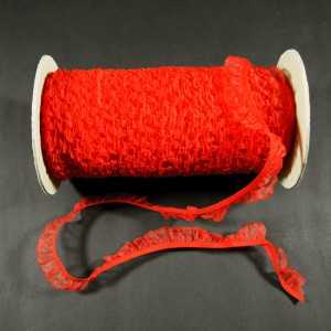 Bild 1 Rüschenband Rot elastisch dehnbar 18 mm breit