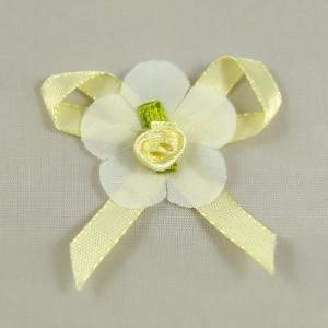 Bild 1 Stoffblumen mit Schleife Aufnäher 50 mm Weiss / Gelb /Grün
